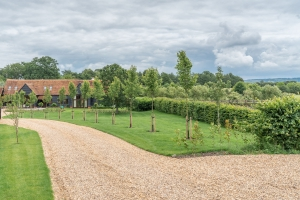 landscaped drive leading to home