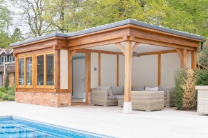 Pool room with covered seating area