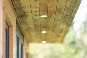 Hidden external lighting on garden room