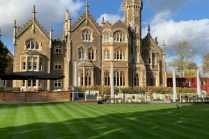 Well tended lawns at Oakley Court Hotel