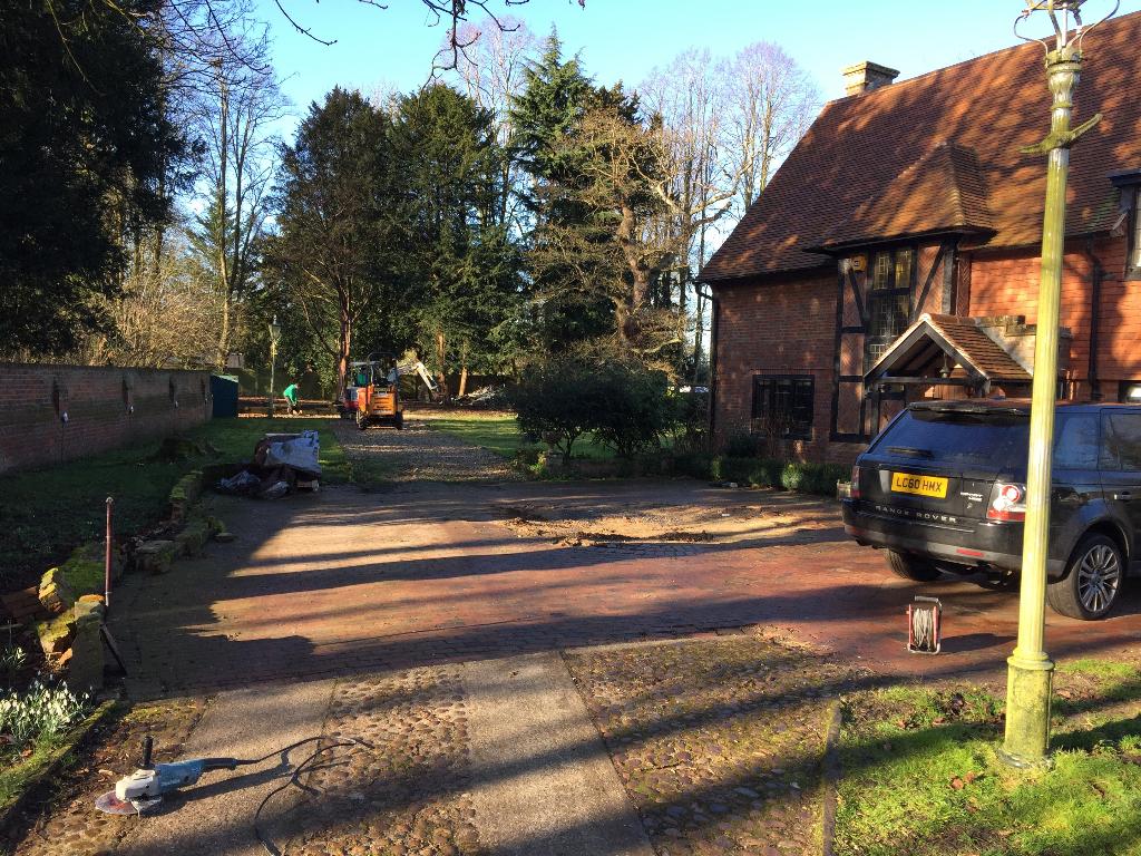 building foundations of a granite sett driveway