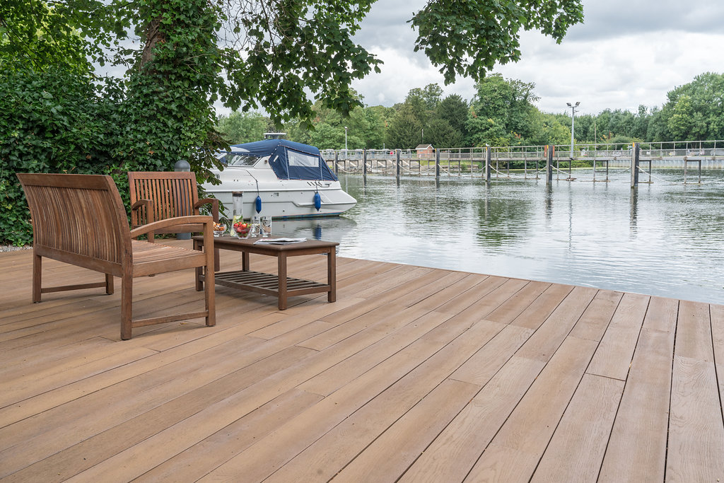 residential patio and river