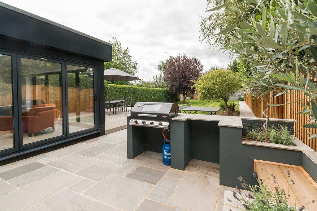 modern residential garden with built in gas bbq