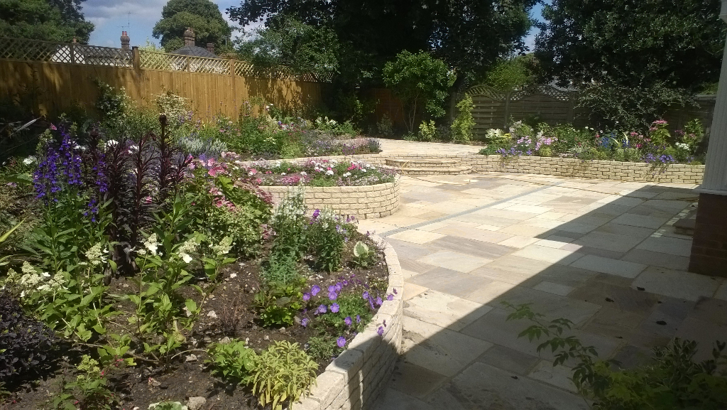 modern garden with elevated flower beds