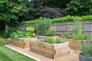 raised vegetable beds made from sleepers