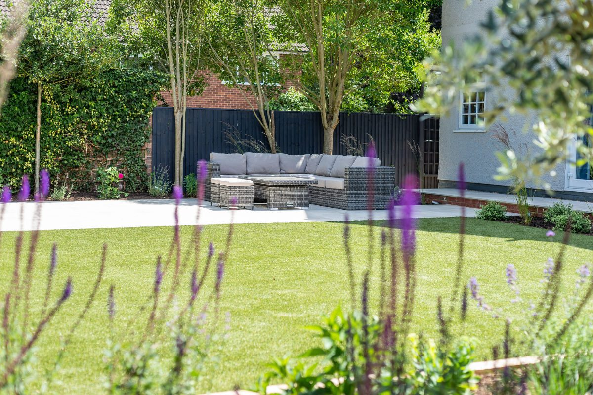 landscaped patio and seating area